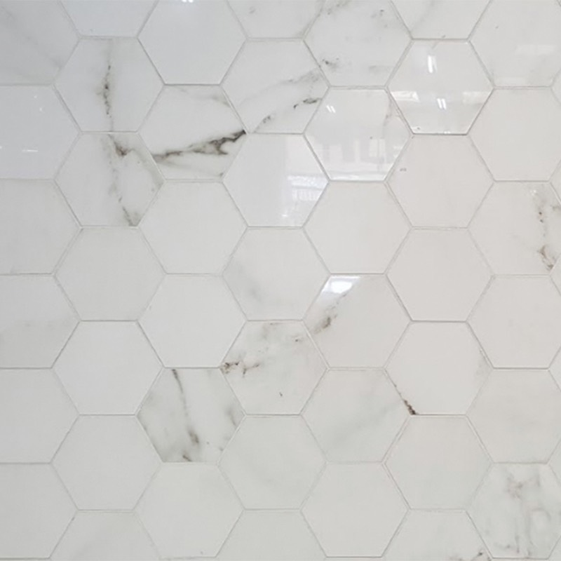 Absolute Carrara Hexagonal Porcelain Tile Western