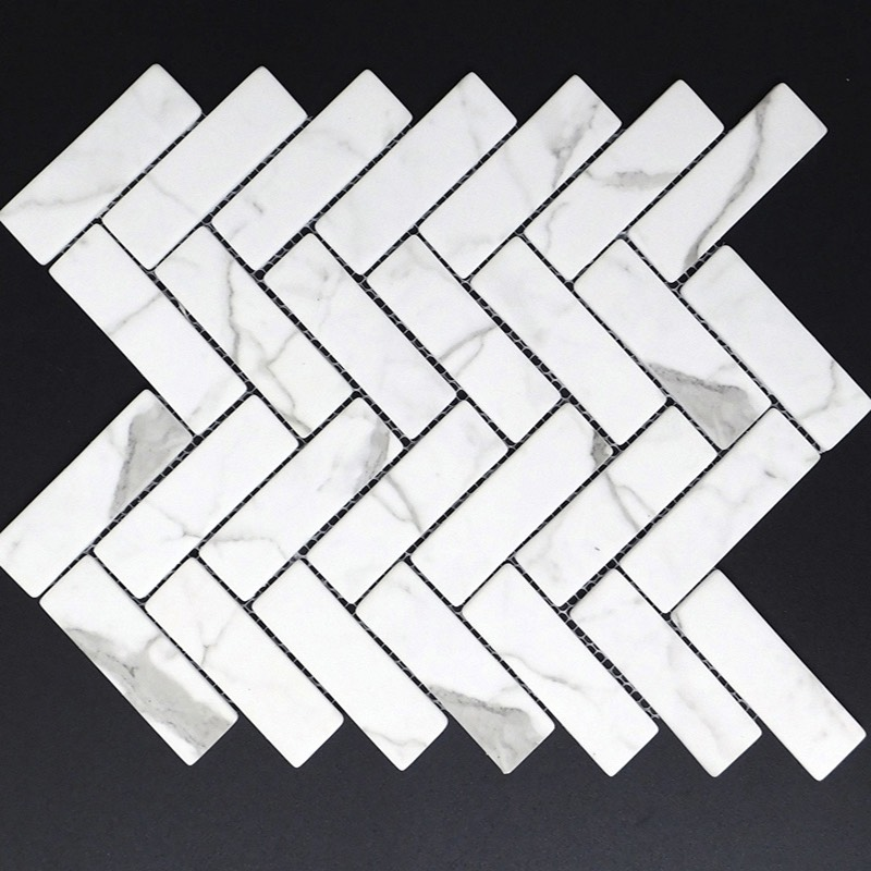 Herringbone Calacutta Recycled Glass Mosaic sample