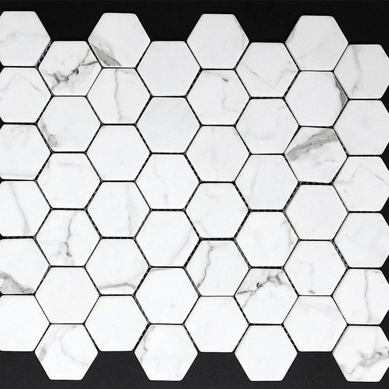 Hexagon Calacutta Recycled Glass Mosaic sample