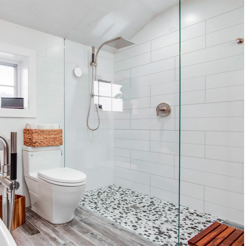 matt white wall tiles bathroom