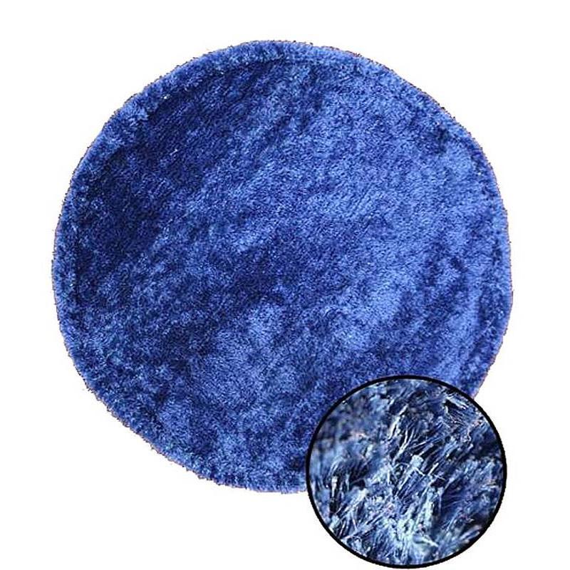 Plush Round Blue Rug sample