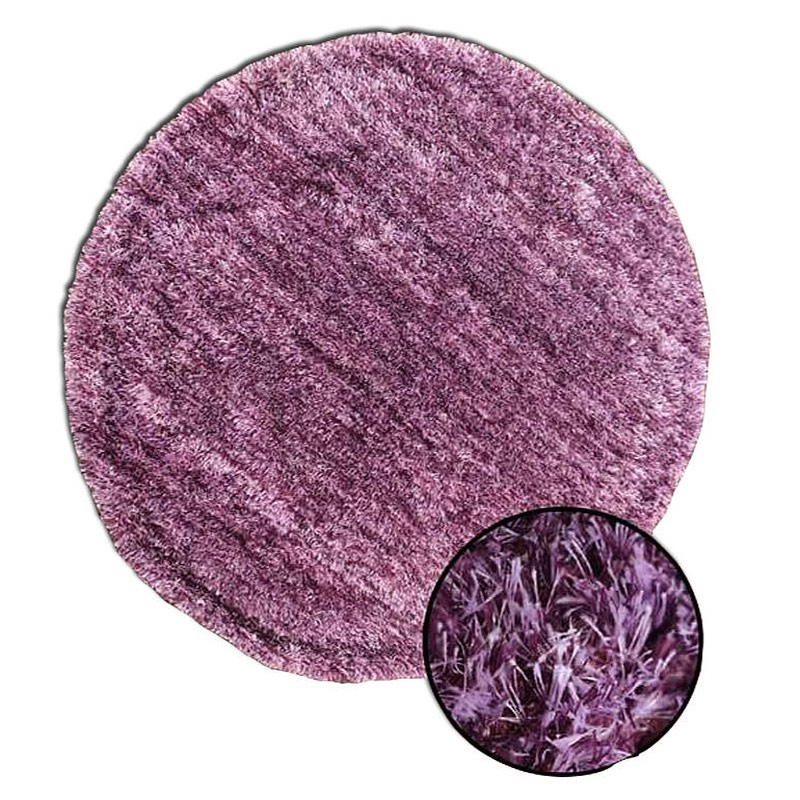 Plush Round Purple Rug sample
