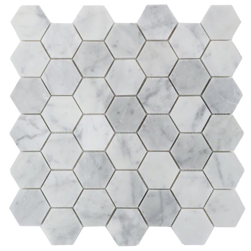 Carrara Honed Hexagon Marble Tile sample