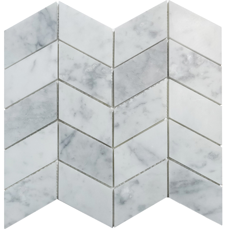 Carrara Honed Chevron Marble Tile sample