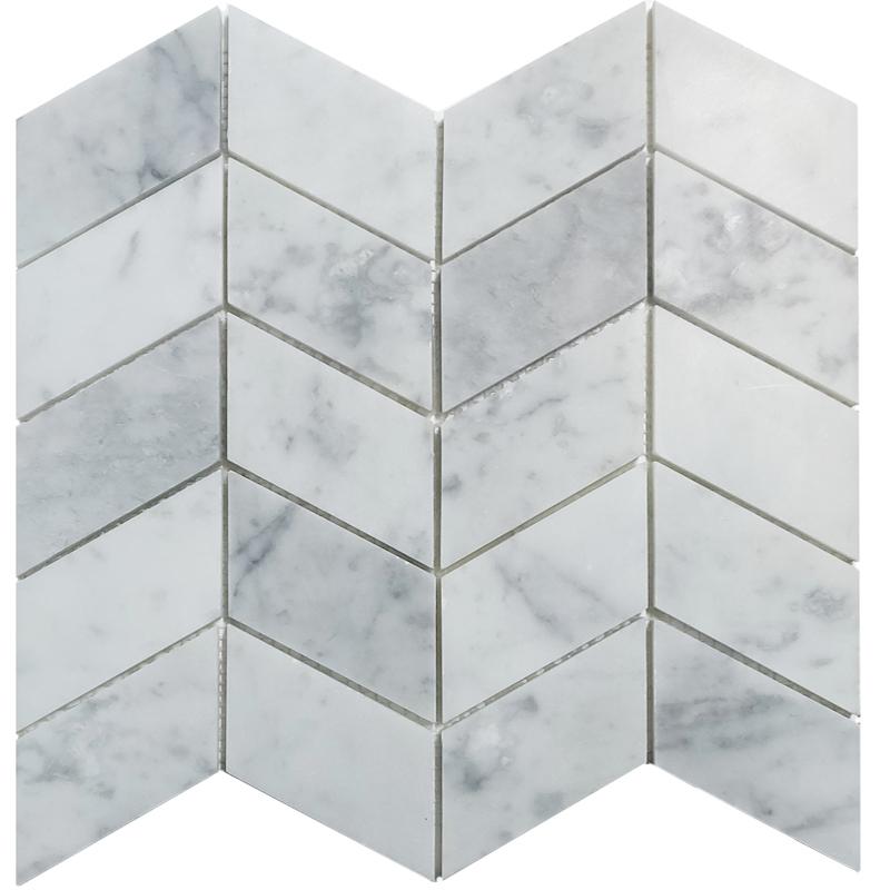 Carrara Honed Chevron Marble Tile sample