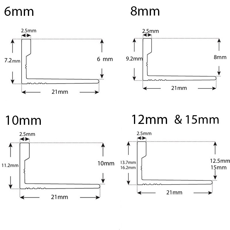 Aluminium L Angleline - 6, 8, 10,12 & 15mm sample