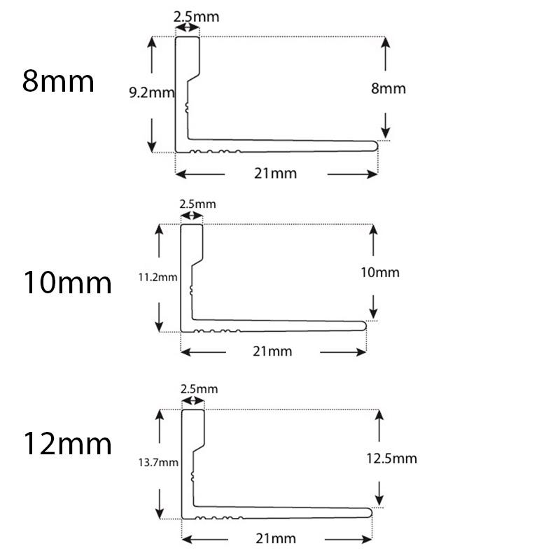 Aluminium L Angleline White Matt- 6, 8, 10, 11 & 12mm sample