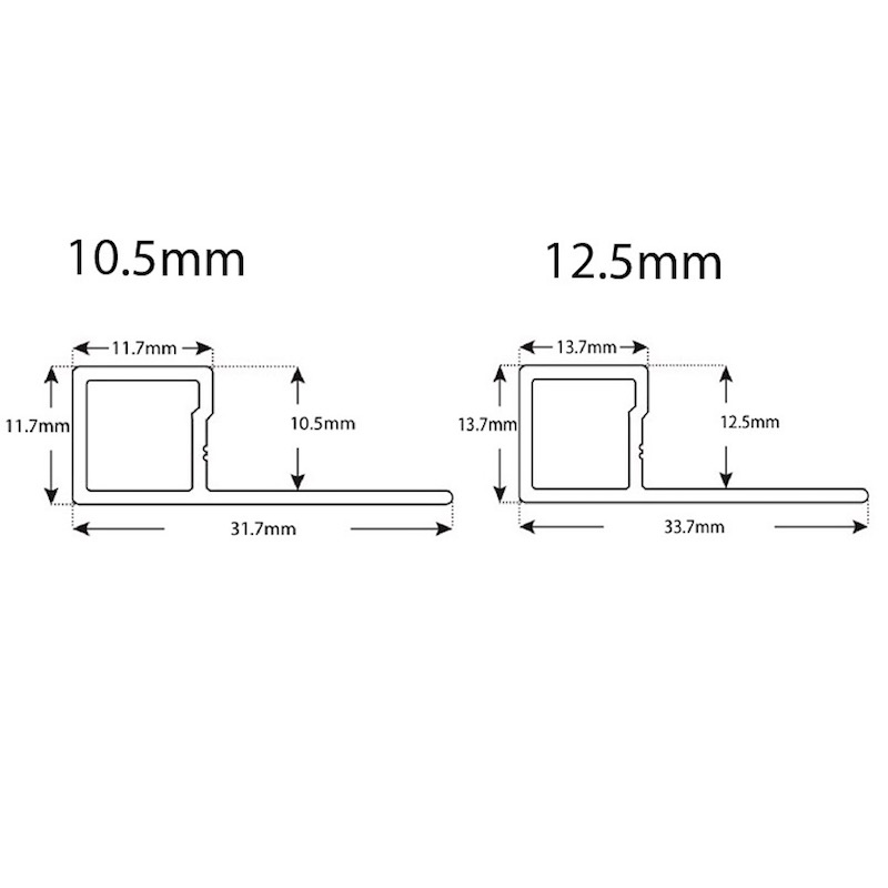 Aluminium  Square Edge Matt Black -10.5 & 12.5mm sample