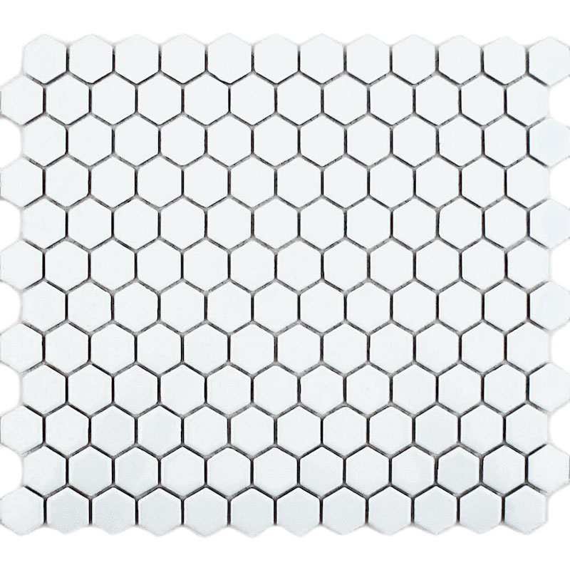 Hexagonal  White Matt  Mosaic Tile sample