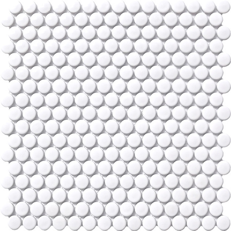 Penny Round White Mosaic Tile sample