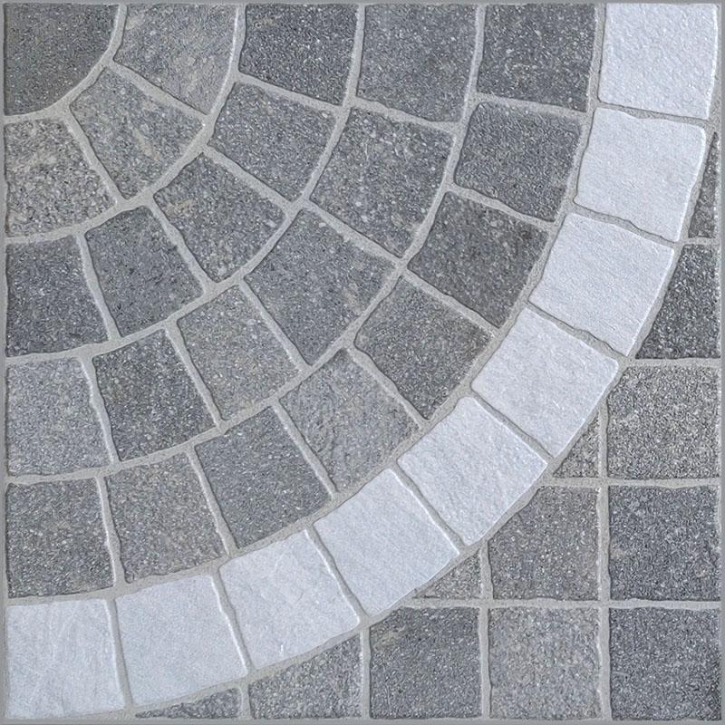 Aurelia Grigio Arco Bianco Porcelain Cobble Tile sample
