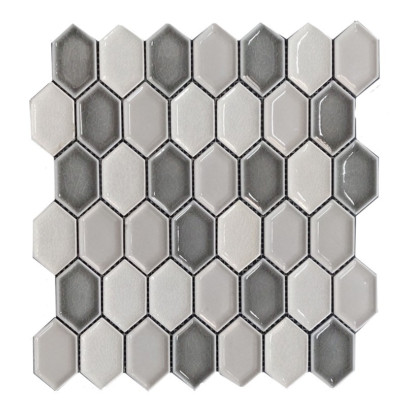 Helongated Hex Grey Ceramic Mosaic Tile sample