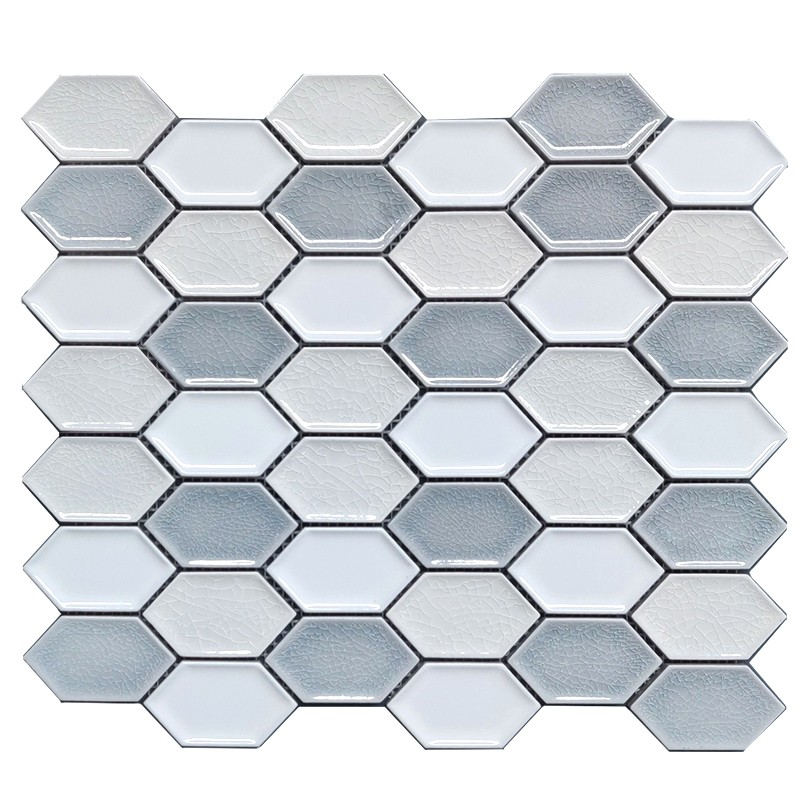 Helongated Hex White Ceramic Mosaic Tile sample