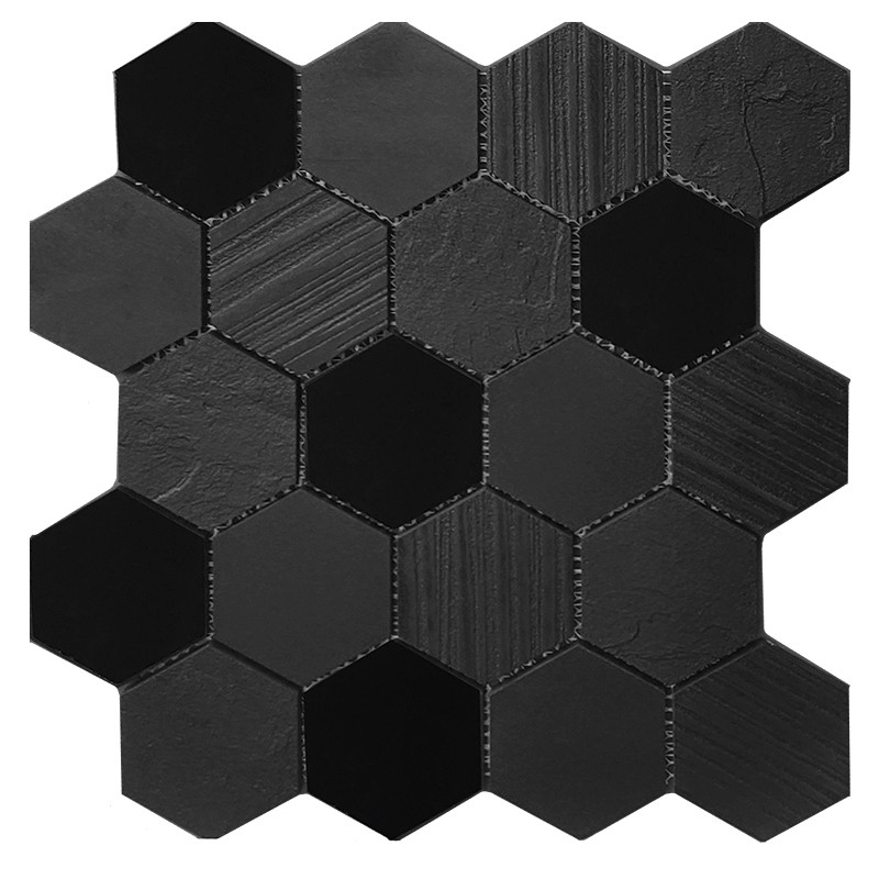 Hexagon Super Black Porcelain Mosaic sample