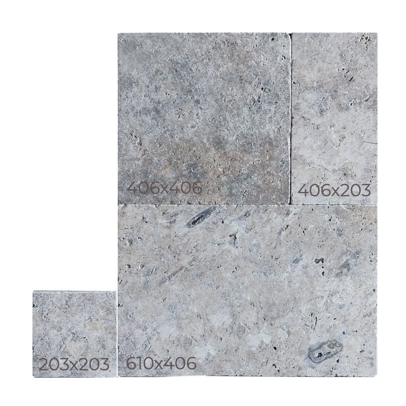 Silver Travertine Tumbled French Pattern Tile sample