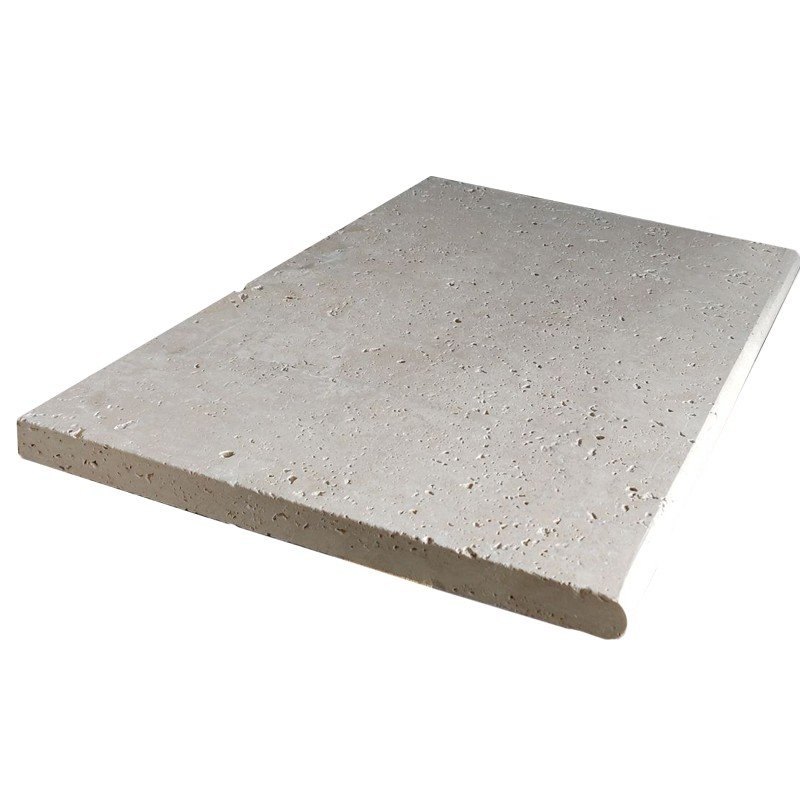 Classic Travertine Tumbled Round Coping Tile sample