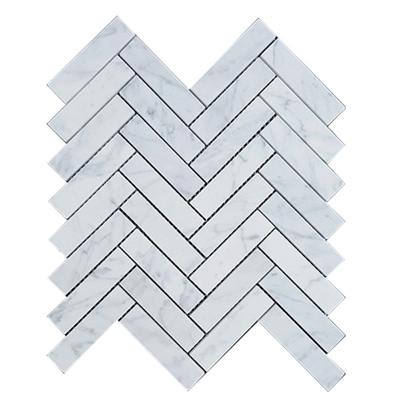Carrara Honed Marble Herringbone Tile sample