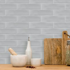 Grey Gloss Ripple Slim Subway Wall Tile