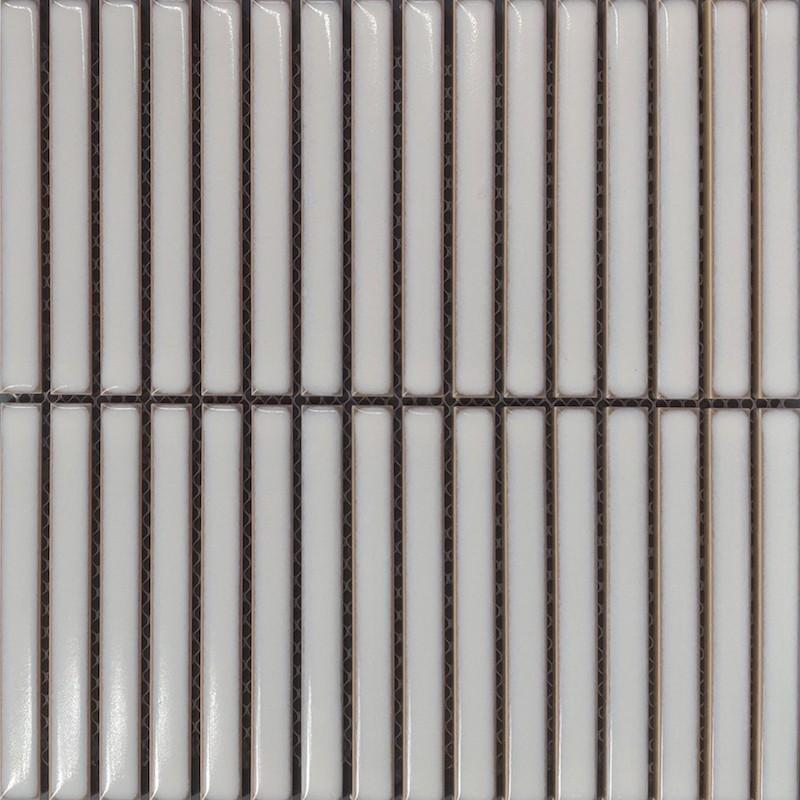 Japanese Inspired Ivory Kit Kat Porcelain Mosaic Tile sample
