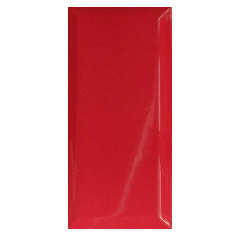 Metro Red Bevelled Subway Wall Tile sample