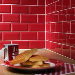 Red Bevelled Subway Wall Tile