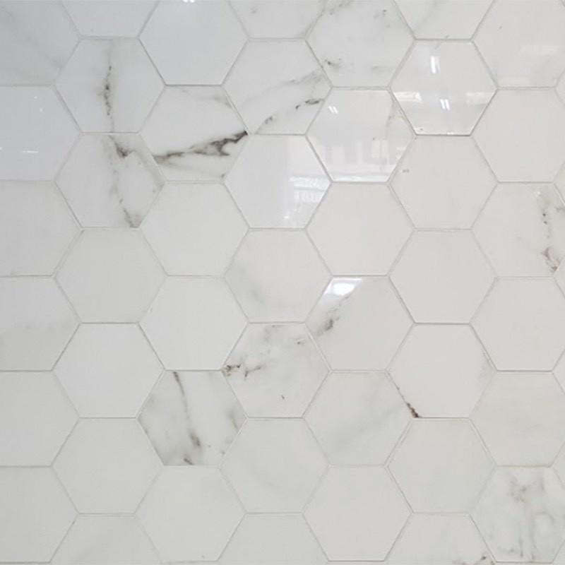 Absolute Carrara Hexagonal Porcelain Tile sample