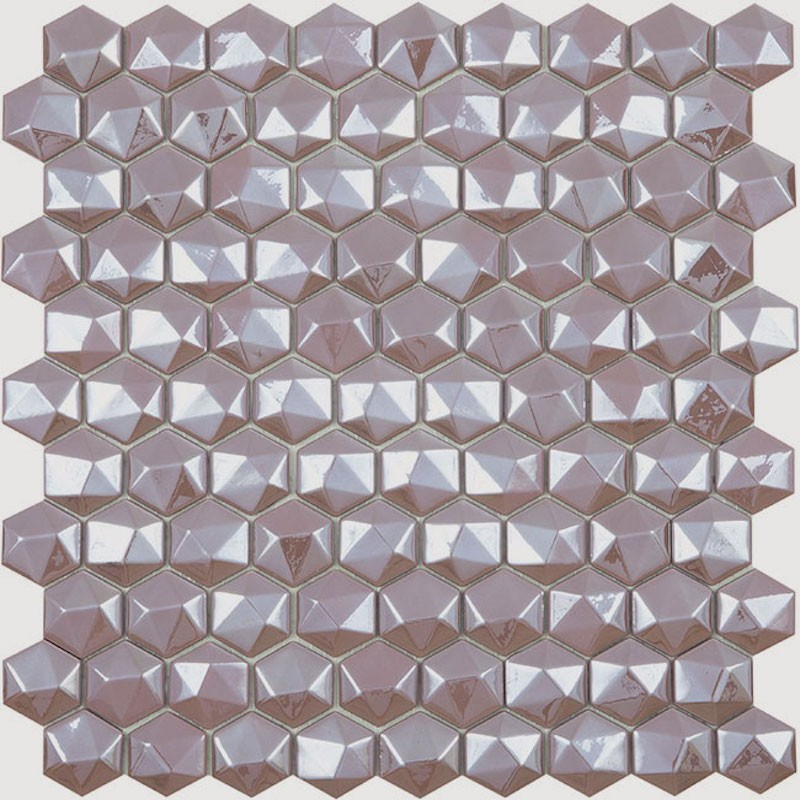 Vidrepur Diamond Nostalgic Hex Glass Mosaic Tile sample