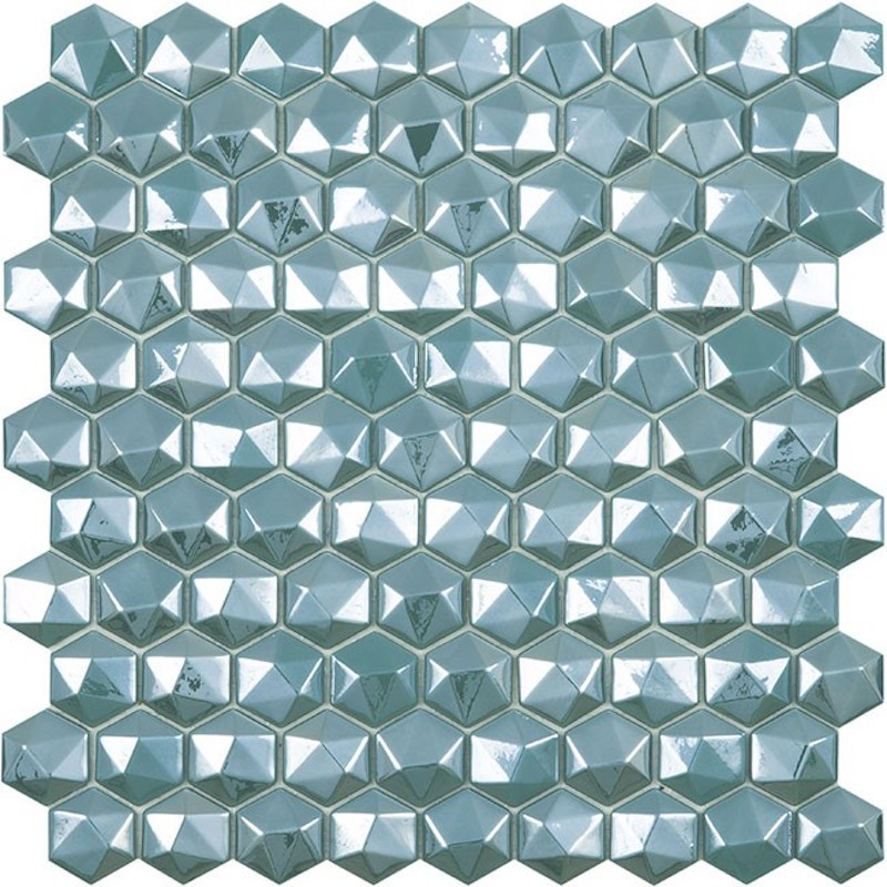 Vidrepur Diamond Turquesa Hex Glass Mosaic Tile sample