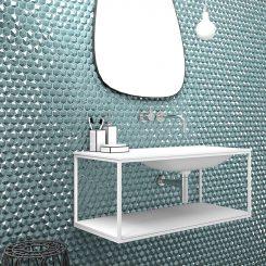 Diamond Turquesa Hex Glass Mosaic Tile