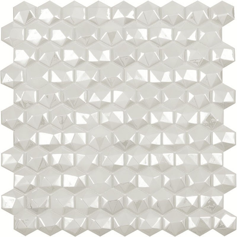 Vidrepur Diamond White Hex Glass Mosaic Tile sample