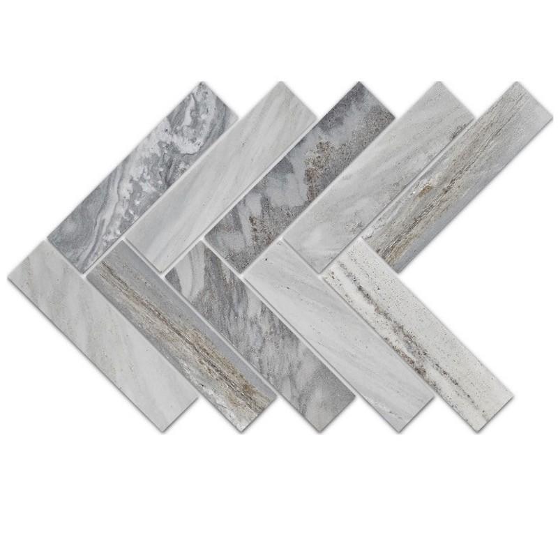 Blue Sandstone Herringbone Mosaic Tile sample
